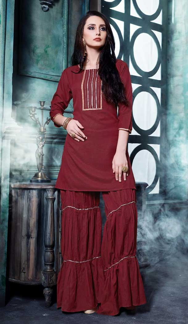 Maroon Color Catonic Effect Readymade Sharara Suit - 469757799