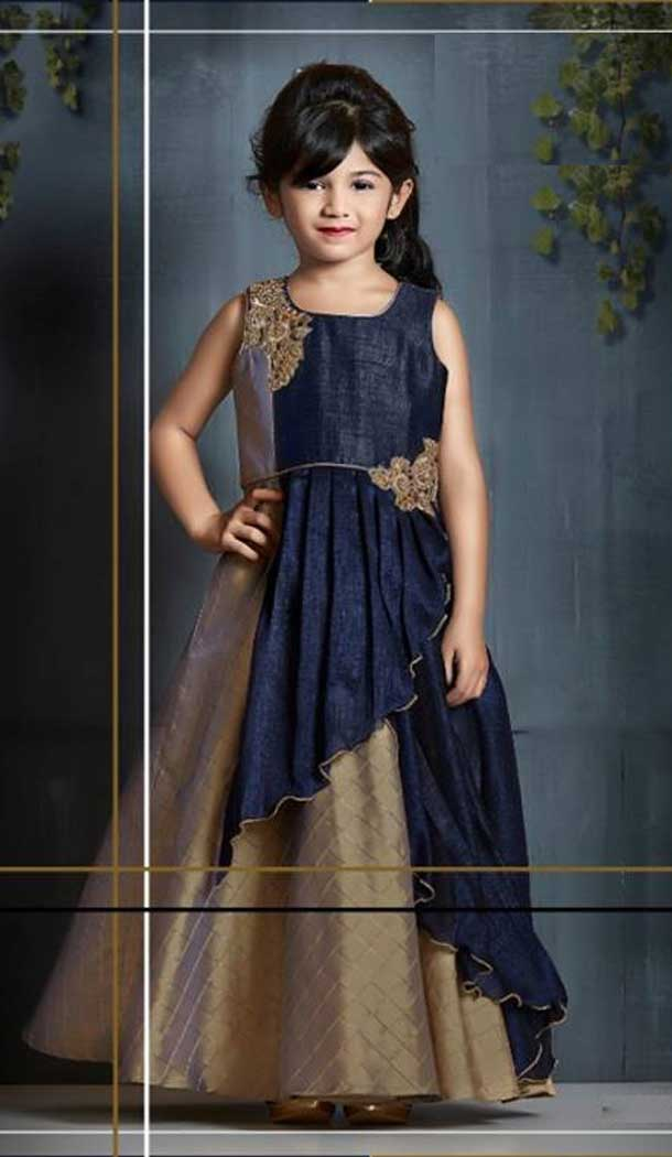 Beige And Navy Blue Color Sanatoon Designer Kids Girls Gown Dress - 4123562