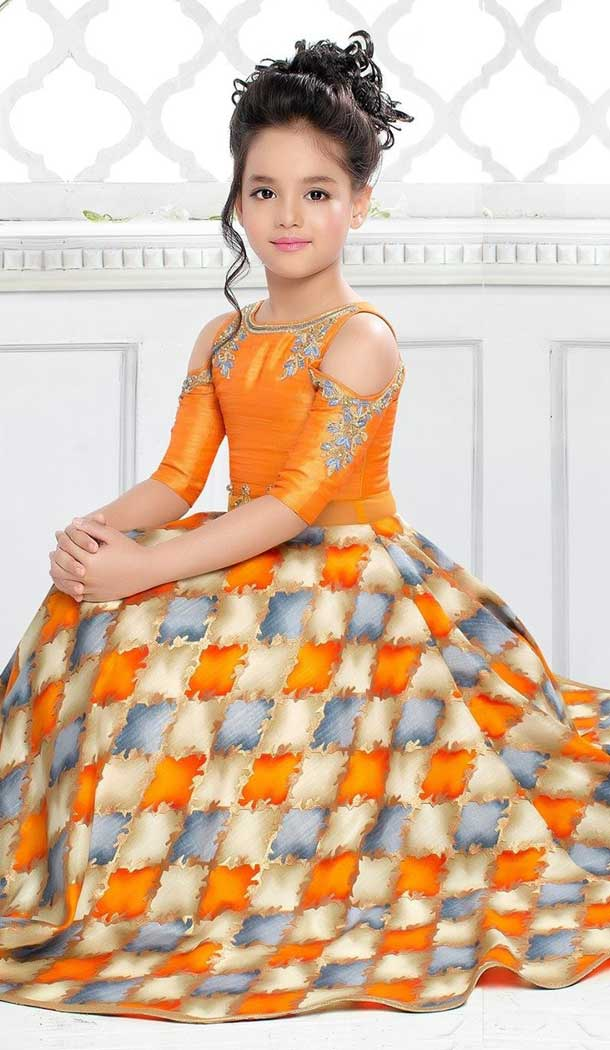 Fire Orange Color Sanatoon Designer Kids Girls Gown Dress - 4123567