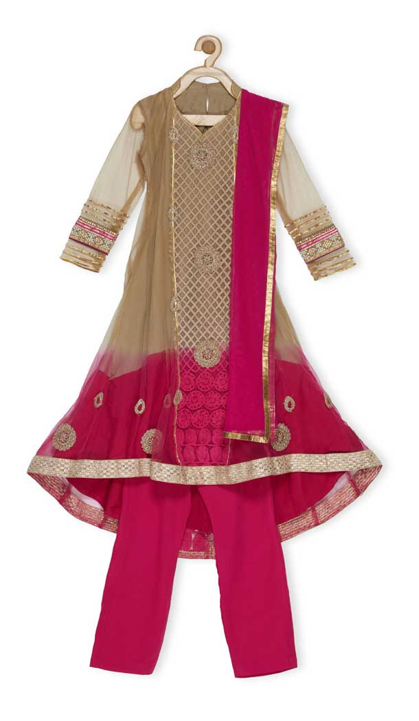 Beigish Gold Color Net Designer Kids Girl Salwar Kameez - 482559328