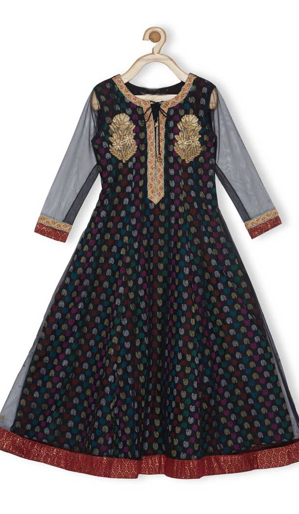 Black Color Brocade Designer Readymade Girl Ethnic Dress - 482559349