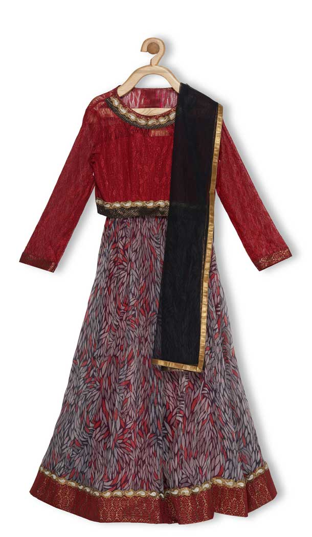 Maroon Color Embroidered Net Designer Girl Lehenga Choli - 482559353