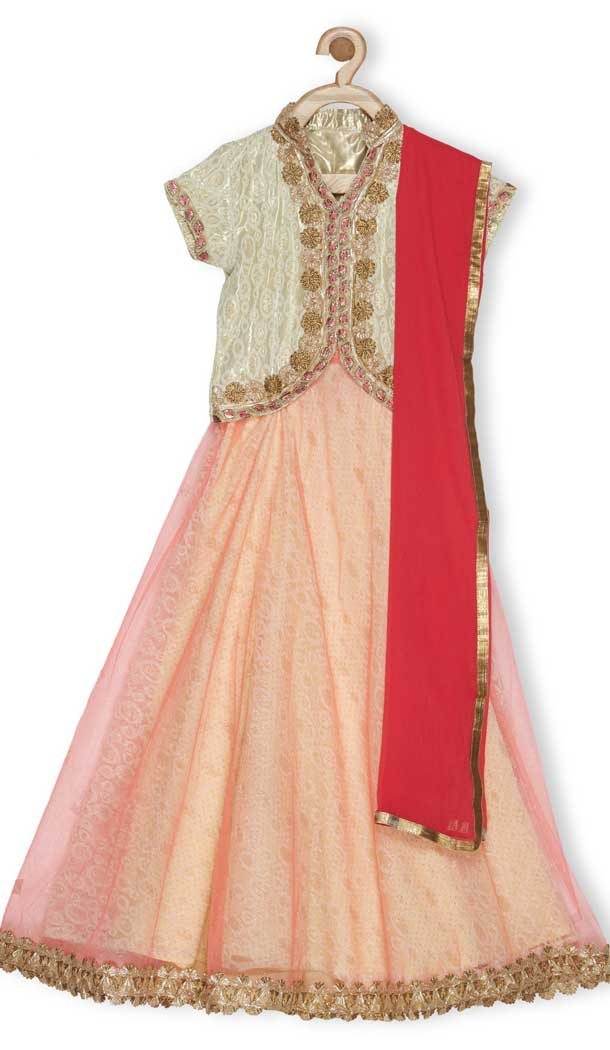 Beige Color Embroidered Net Designer Girl Lehenga Choli - 482559354