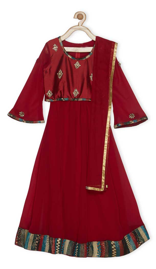 Maroon Color Taffeta Designer Girl Lehenga Choli - 482559356