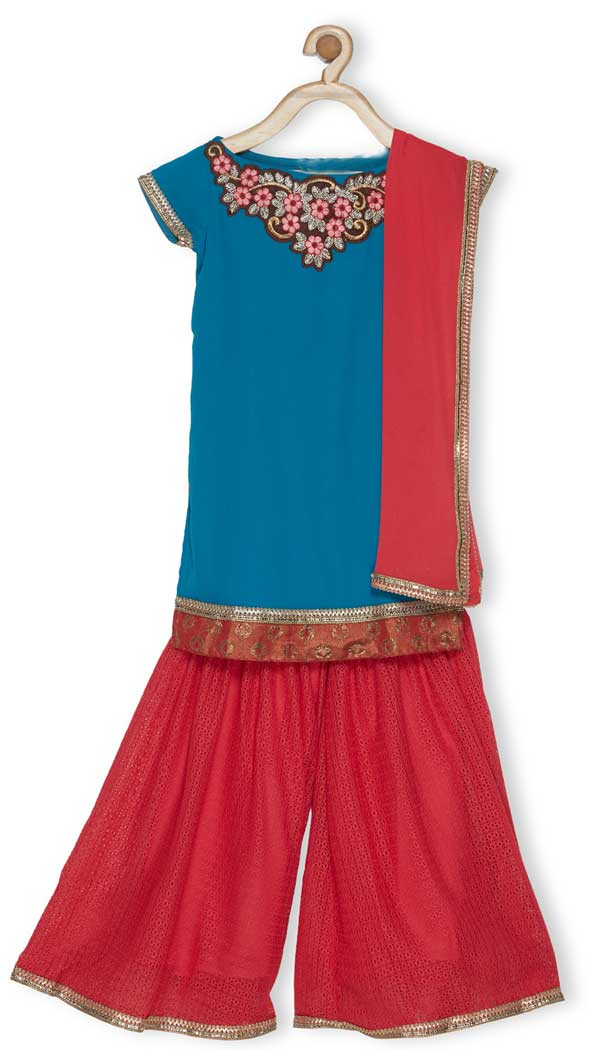 Blue Color Faux Georgette Designer Kids Girl Salwar Kameez - 482559358