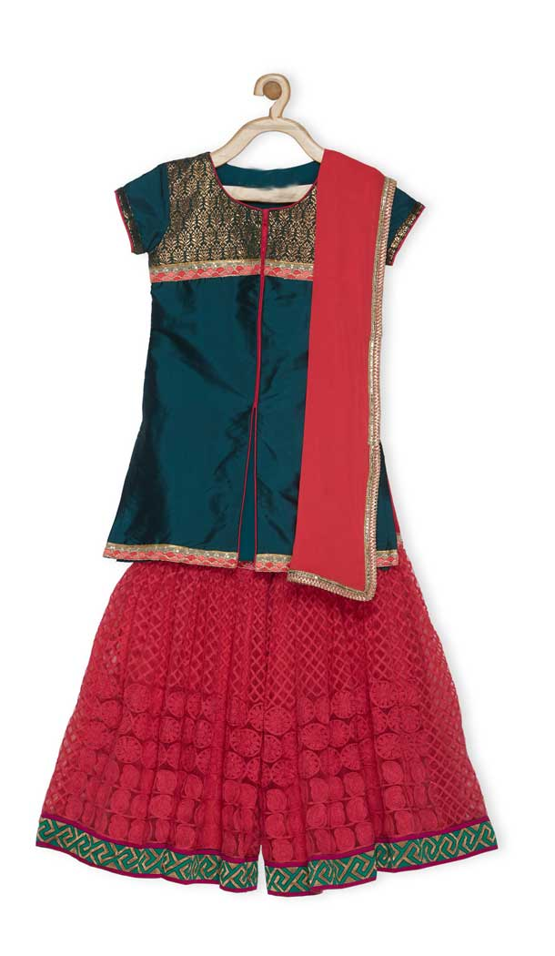 Steel Green Color Tafetta Designer Kids Girl Salwar Kameez - 482559360