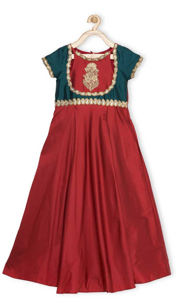 Maroon Color Tafetta Designer Readymade Girl Ethnic Dress - 482559361