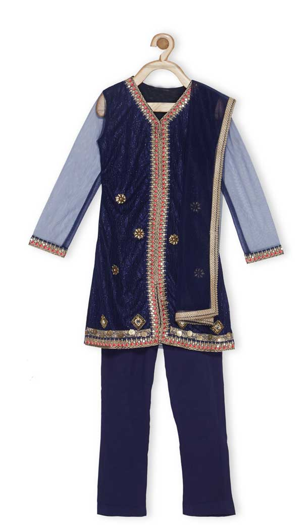 Navy Blue Color Embroidered Net Designer Kids Girl Salwar Kameez - 482559364