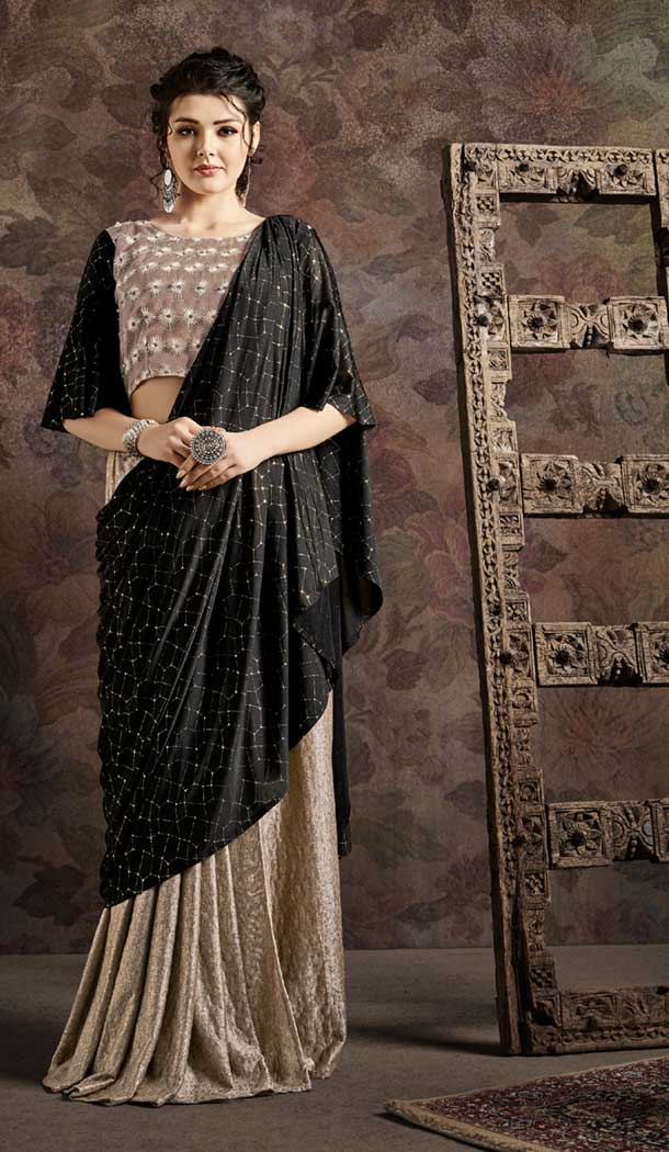 Beige And Black Color Fancy Imported Pre-stitched Saree - 484859624
