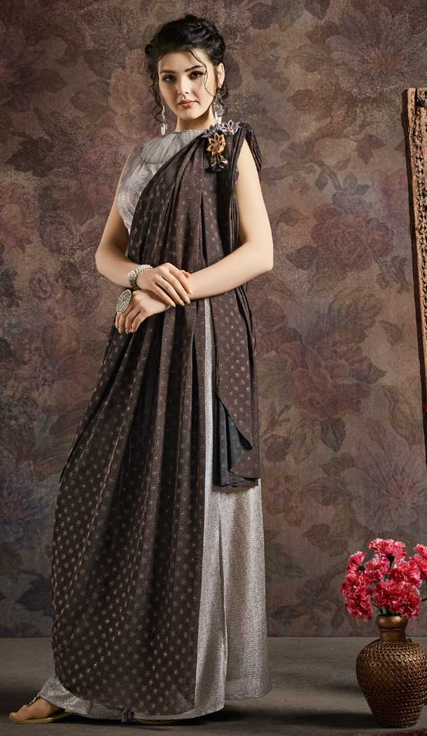 Black And Silver Color Fancy Imported Pre-stitched Saree - 484859626