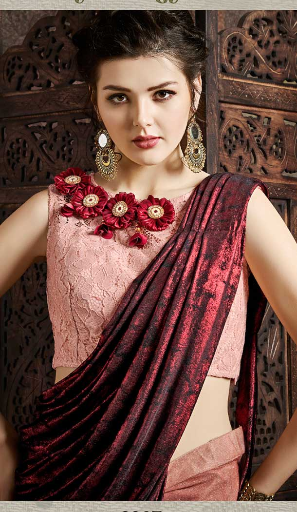 Peach And Maroon Color Fancy Imported Pre-stitched Saree - 484859629