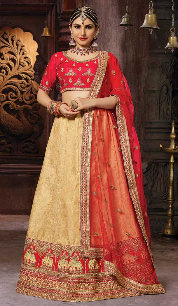 Beige Color Banarasi Art Silk Wedding Lehenga Choli - 63383596