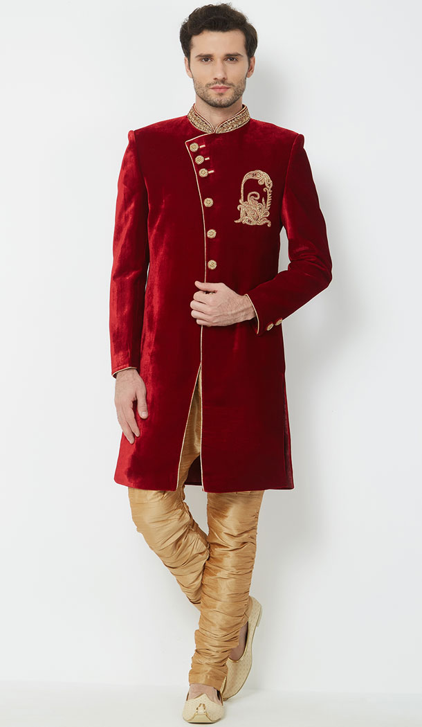 Beautiful Red Color Velvet Readymade Men Groom Sherwani - 489860282