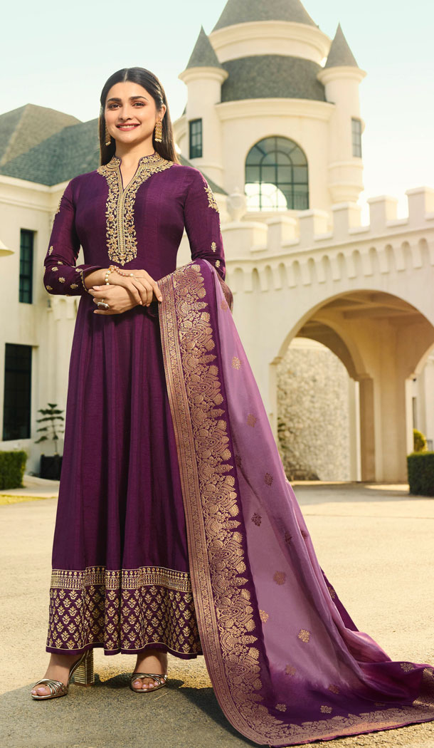 Bollywood Celebrity Prachi Desia Purple Salwar Kameez - 63783959
