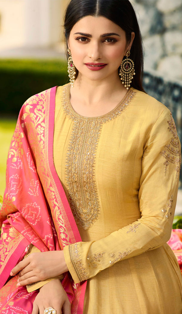 Bollywood Celebrity Prachi Desia Yellow Salwar Kameez - 63783960