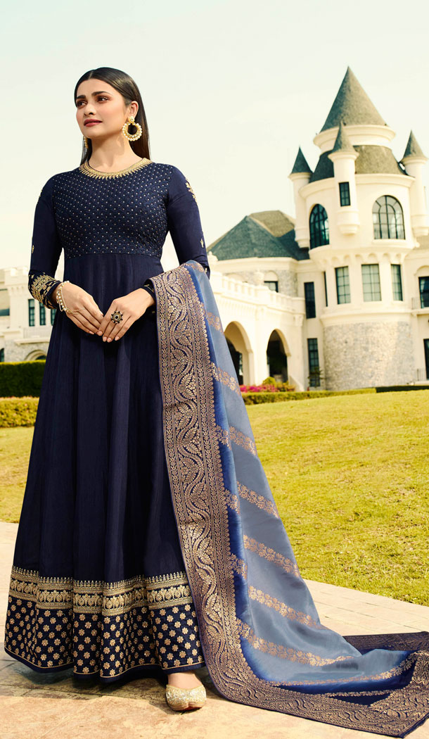 Bollywood Celebrity Prachi Desia Navy Blue Salwar Kameez