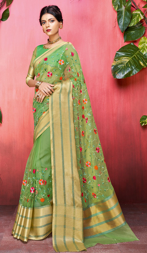 Green Color Orgenza Silk Casual Saree in Express Shipping - 494260726