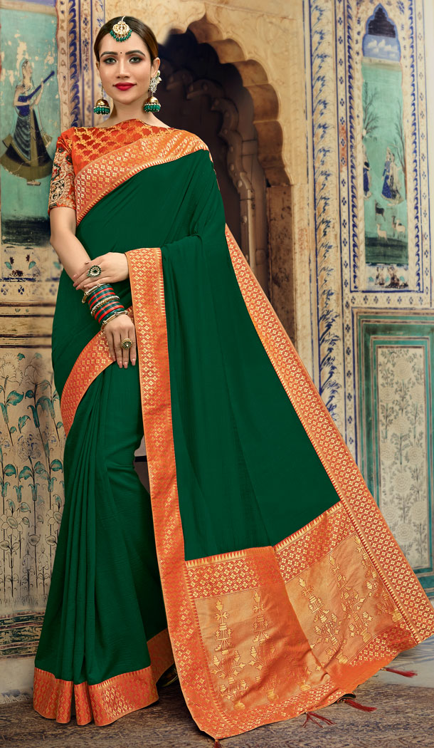 Alluring Green Color Soft Dolla Silk Casual Saree in Express Shipping - 494360739