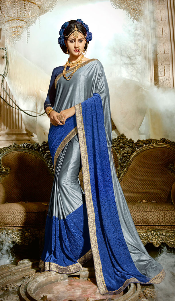 Two Tone Grey Blue Chinese Imported Party Wear Plus Size Sarees - 494460747
