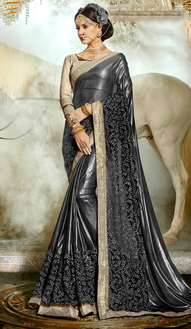 Two Tone Black Chinese Imported Party Wear Plus Size Sarees - 494460756