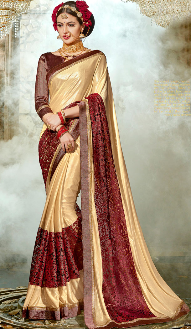 Cream And Maroon Chinese Imported Party Wear Plus Size Sarees - 494460757