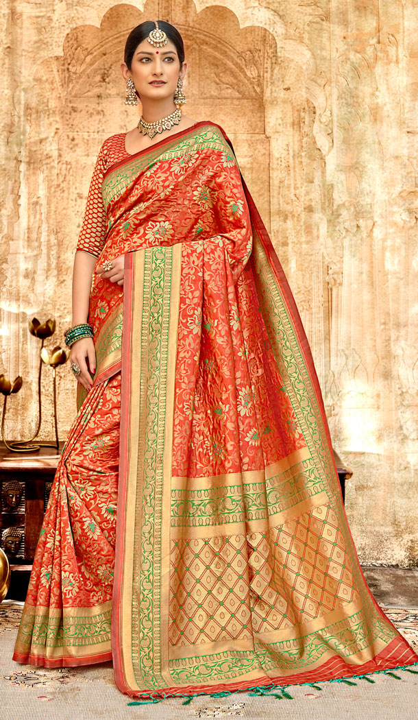 Red Color Silk Base Traditional Plus Size Sarees - 494560758