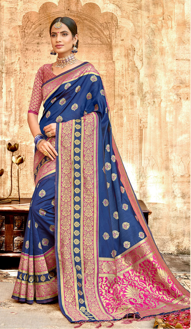 Navy Blue Color Silk Base Traditional Plus Size Sarees - 494560761
