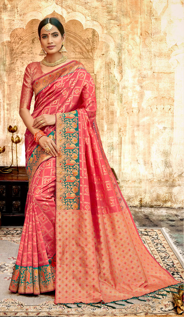 Coral Color Silk Base Traditional Plus Size Sarees - 494560762