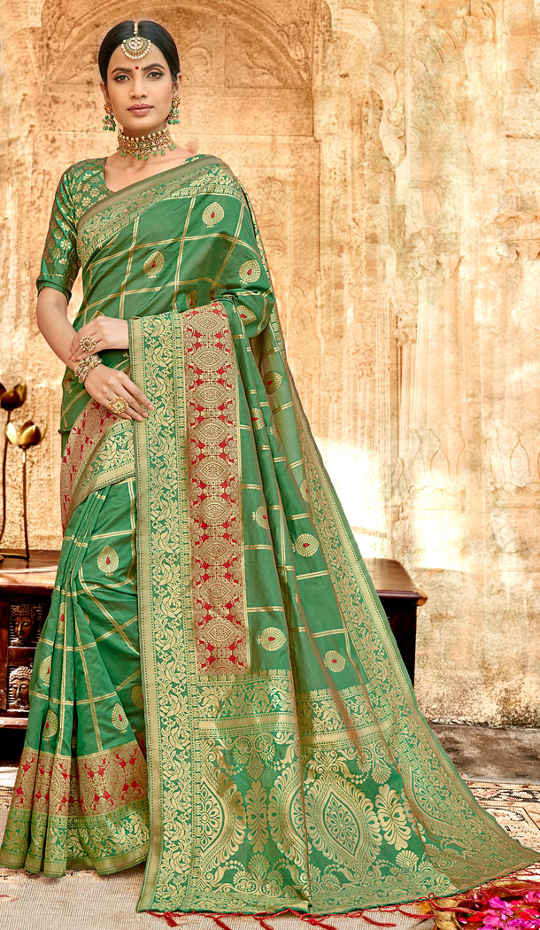 Green Color Silk Base Traditional Plus Size Sarees - 494560763