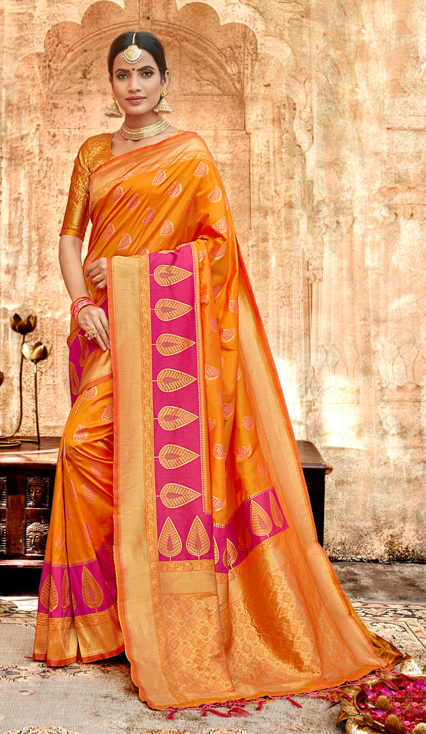 Orange Color Silk Base Traditional Plus Size Sarees - 494560764