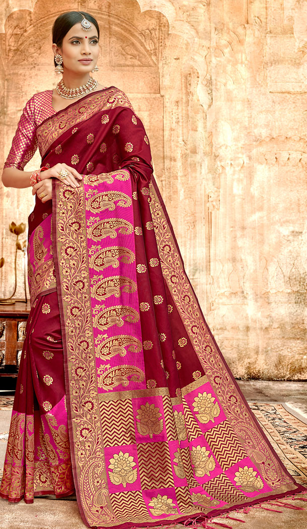 Maroon Color Silk Base Traditional Plus Size Sarees - 494560766