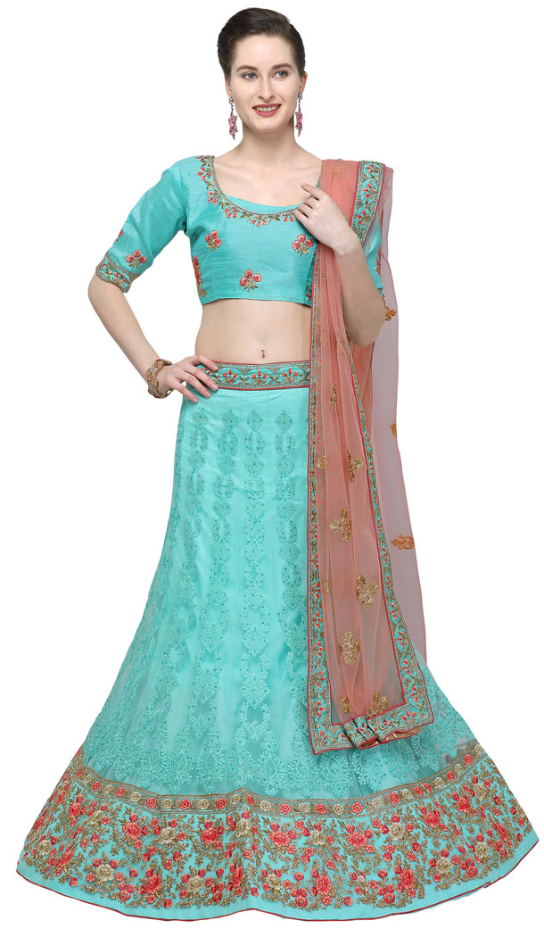Alluring Blue Color Net Treditional Wear Lehenga Choli - 494760775