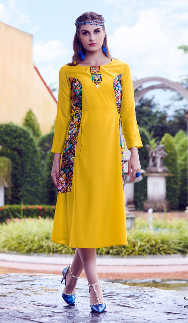 Yellow Color Mode Silk Party Wear Readymade Kurti - 497461070