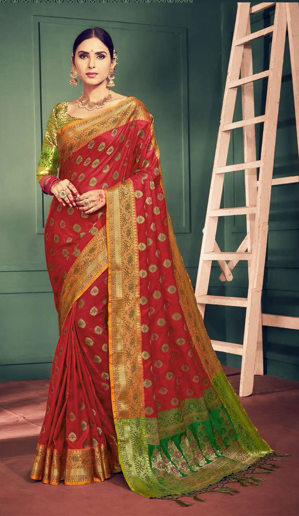 Red Color Kanchipuram Silk Traditional Plus Size Sarees - 496861016