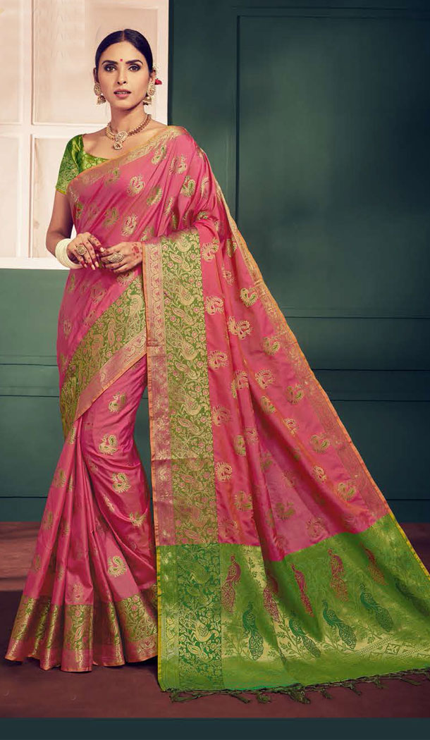 Pink And Green Color Kanchipuram Silk Traditional Plus Size Sarees - 496861022