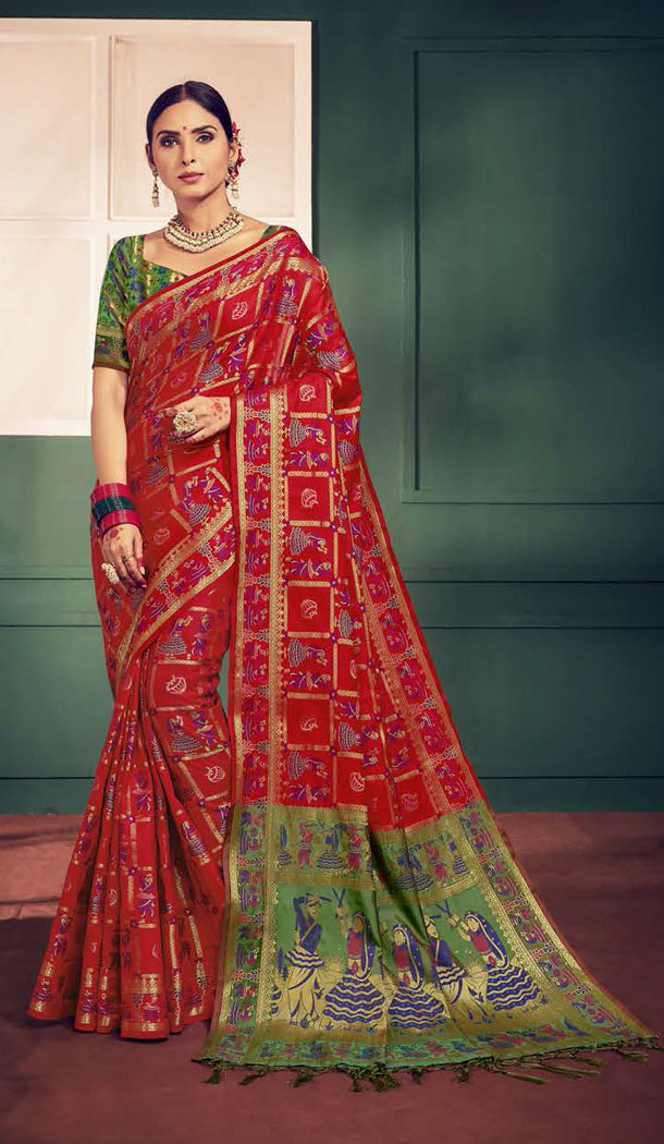 Red And Green Color Kanchipuram Silk Traditional Plus Size Sarees - 496861024
