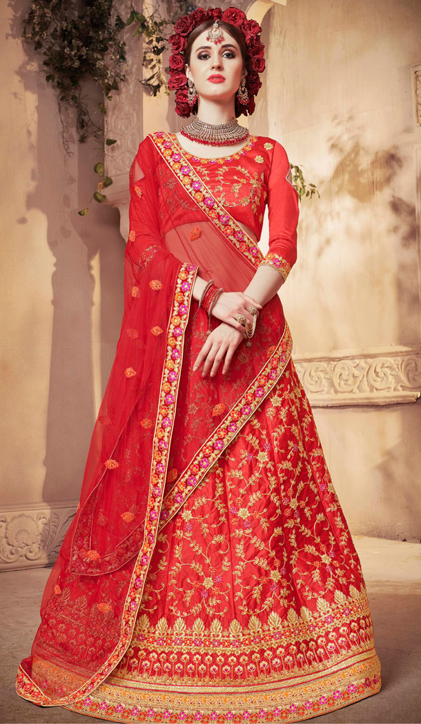 Red Color Satin Silk Treditional Party Wear Lehenaga Choli - 502461669
