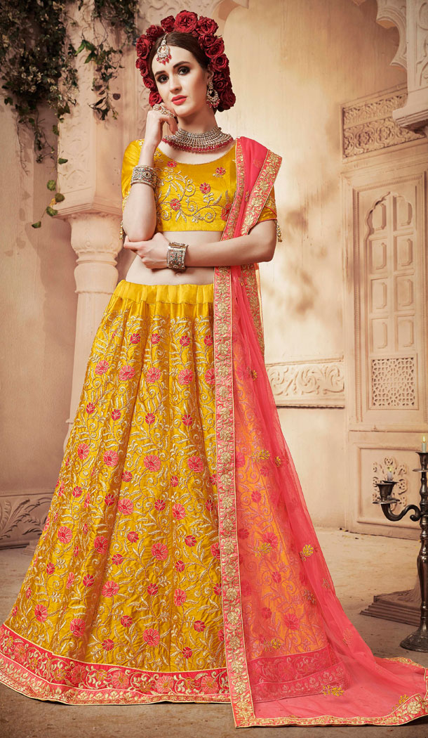 Yellow Color Satin Silk Treditional Party Wear Lehenaga Choli - 502461670