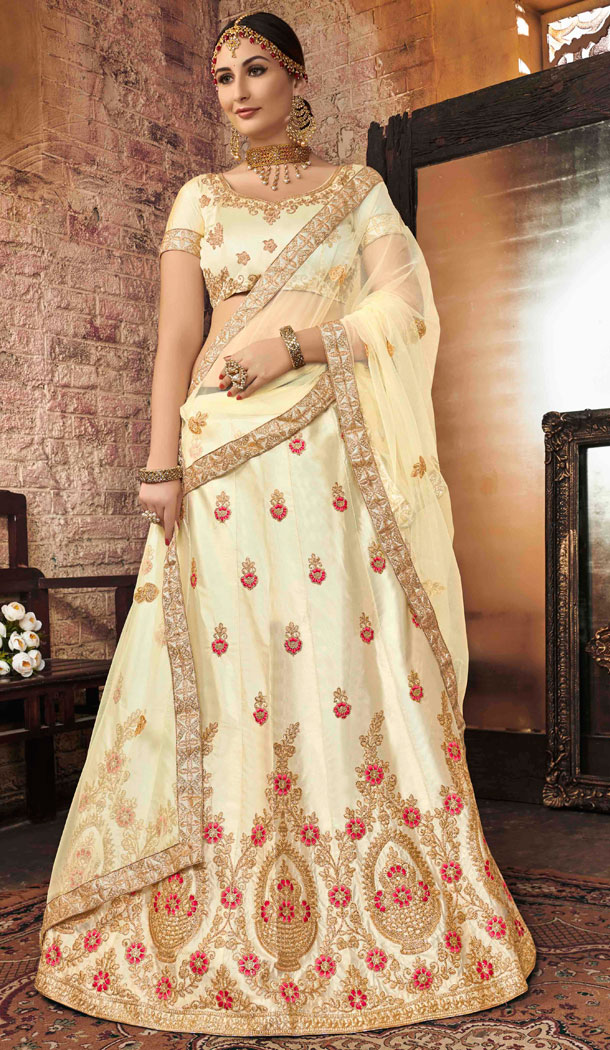 Dazzling Diva Cream Color Silk Treditional Party Wear Lehenaga Choli - 502561672