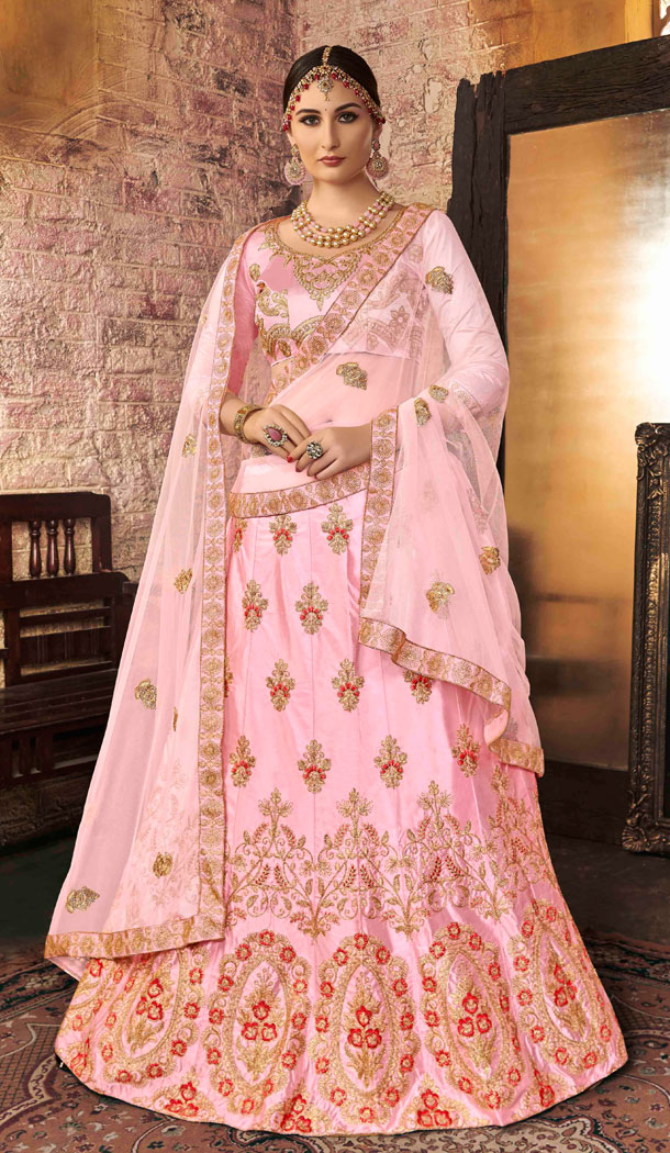 Gorgeous Light Pink Color Silk Treditional Party Wear Lehenaga Choli - 502561673