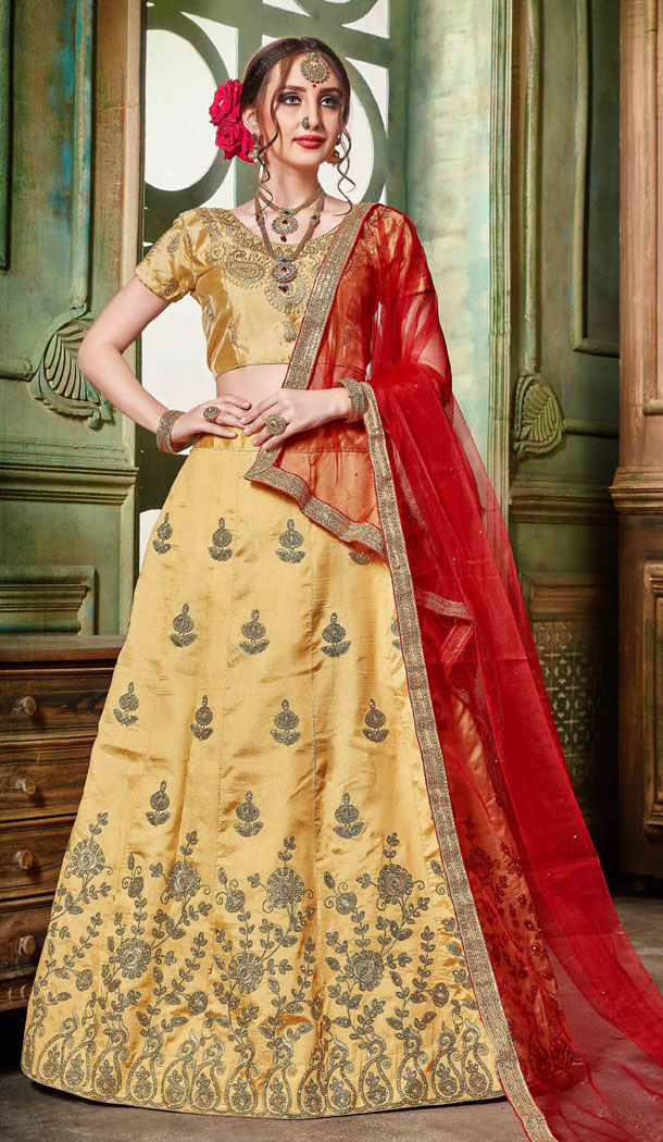 Golden Color Silk Party Wear Women Lehenga Choli Collection - 502661678