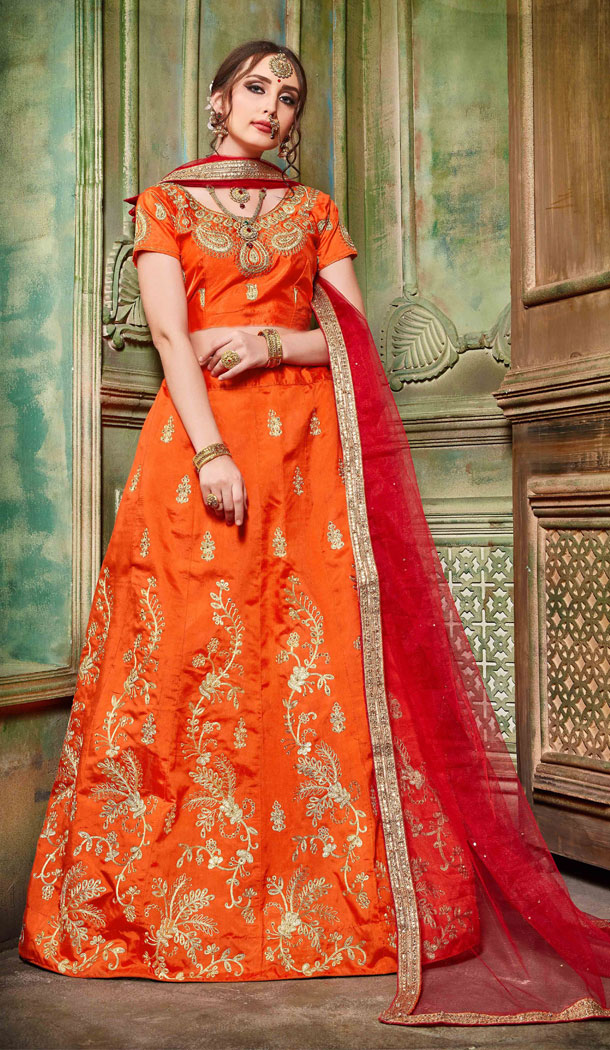 Orange Color Silk Party Wear Women Lehenga Choli Collection