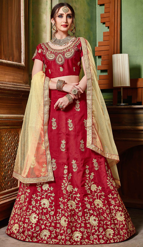 Maroon Color Silk Party Wear Women Lehenga Choli Collection - 502661682