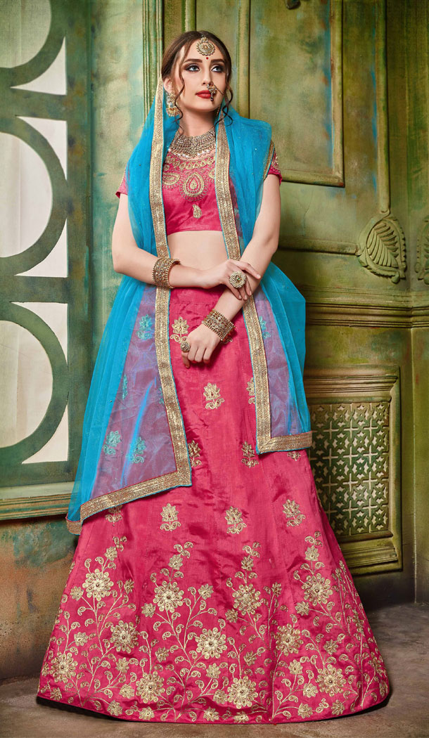 Magnificient Pink Color Silk Party Wear Women Lehenga Choli Collection - 502661683