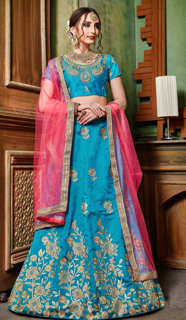 Sky Blue Color Silk Party Wear Women Lehenga Choli Collection - 502661684