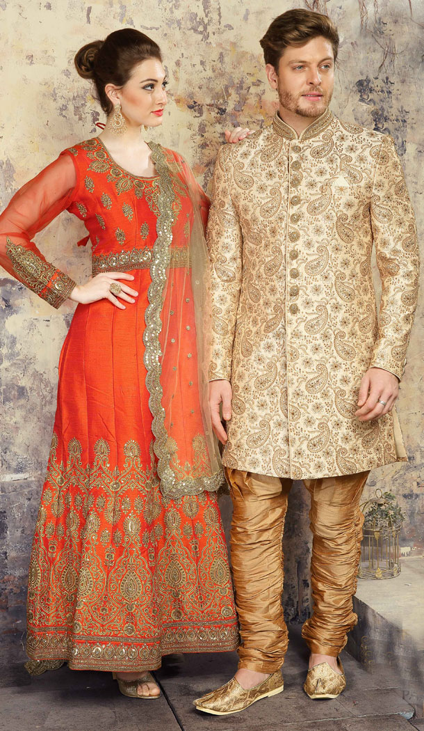 Tantalizing Cream Color Jacquard Exclusive Ready made Indo Western Sherwani - 504661888