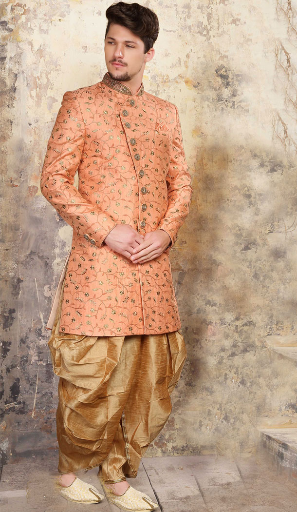 Coral Color Jacquard Exclusive Ready made Indo Western Sherwani - 504661890
