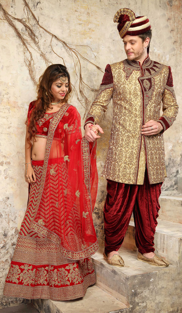 Beige And Maroon Color Jacquard Exclusive Ready made Indo Western Sherwani - 504661891
