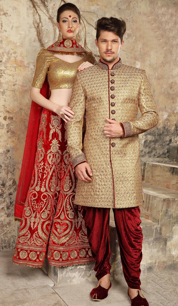 Tantalizing Tan Color Jacquard Exclusive Ready made Indo Western Sherwani - 504661899