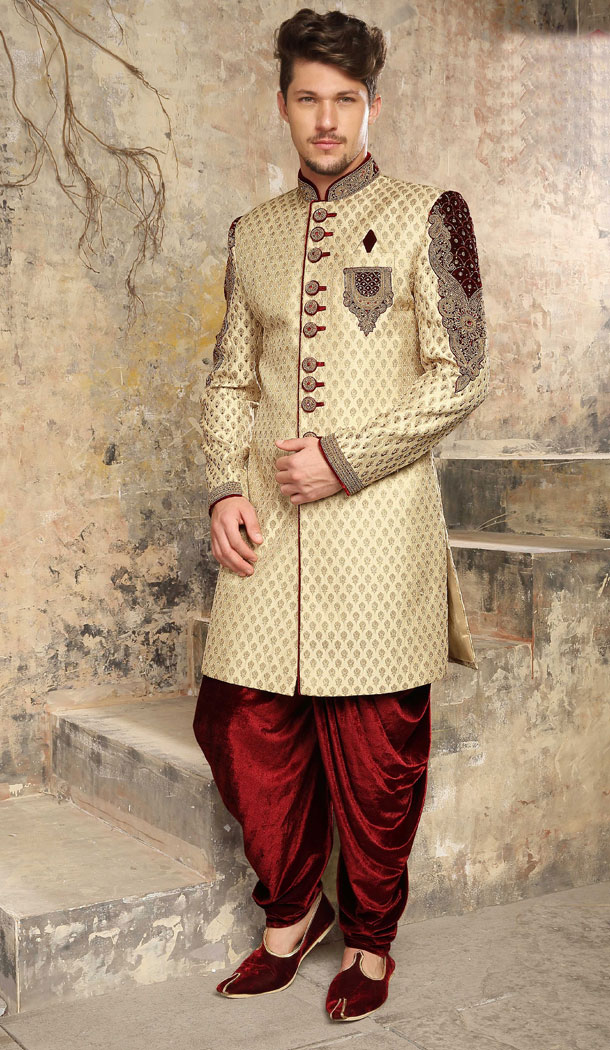 Beige Color Jacquard Exclusive Ready made Indo Western Sherwani - 504661900